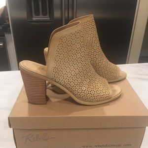 Slide on mules with heel